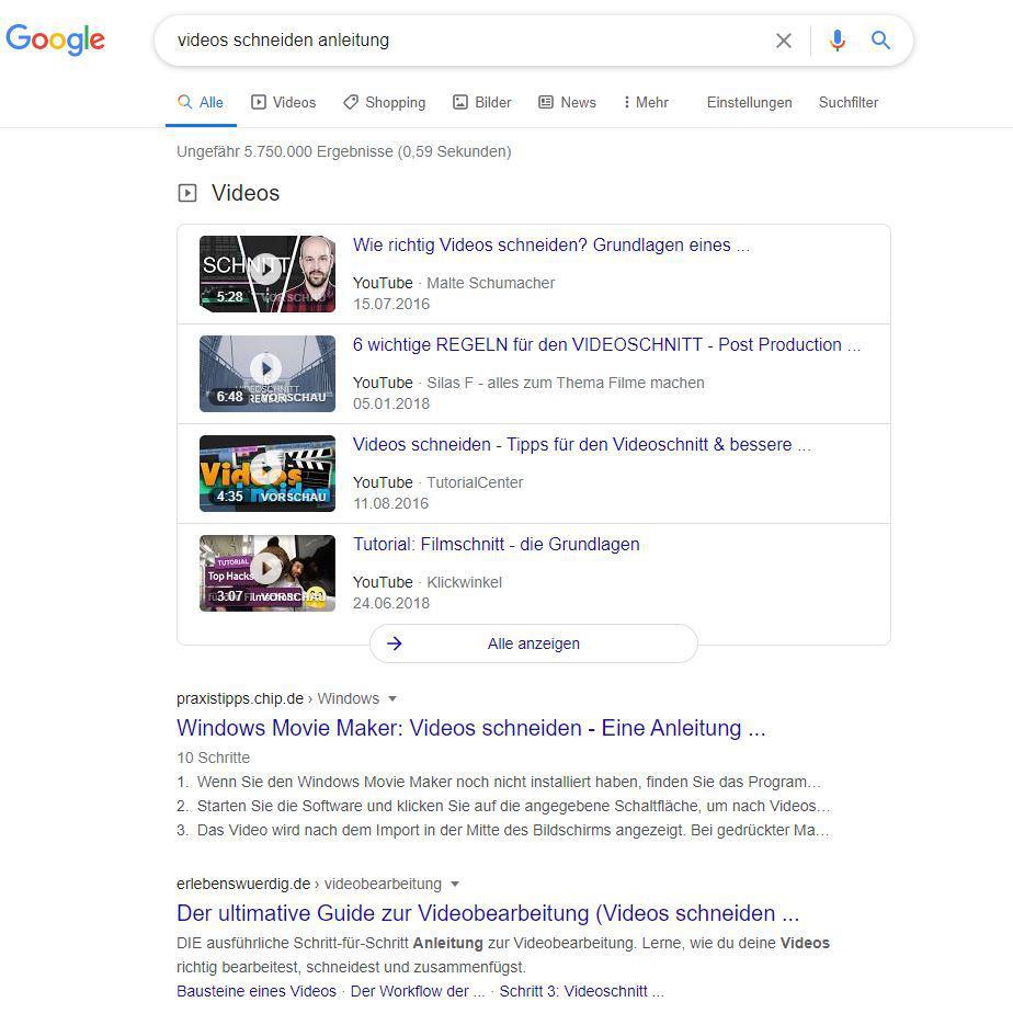 Videos bei Google SEO